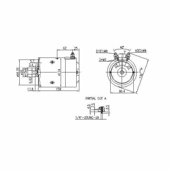Elektromotor 24V 2,2kW MM151_dimenzije